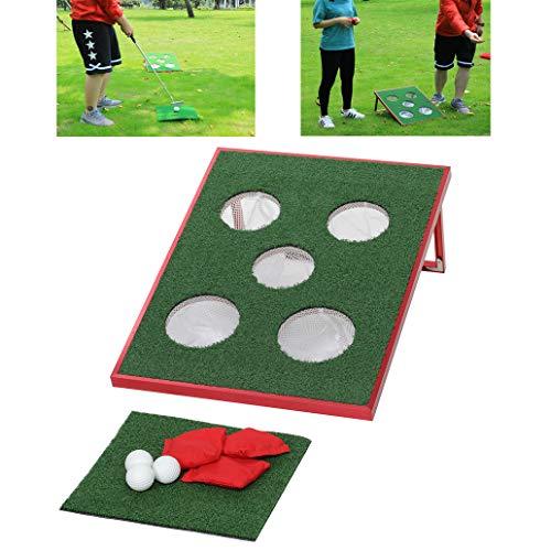 SPRAWL Cornhole Set Lightweight Portable Golf Pong Game Chipping Board Golf Putter Practice Backyard Bean Bag Toss Tic Tac Toe Game Red 2