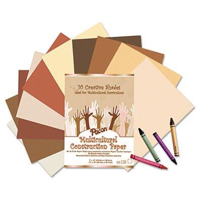 o Pacon o - Multicultural Construction Paper 12 x 18 Ten Skintone Hues 50 Sheetspk