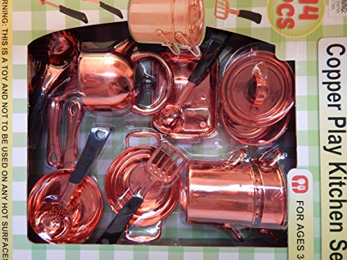 Copper Toy Pots and Pans Play Kitchen Set Play Copper Pots and Pans Toys for Kids - Kitchen Playset Pretend Copper Cookware Mini Cooking Utensils Development Toys for Children 14 Pieces