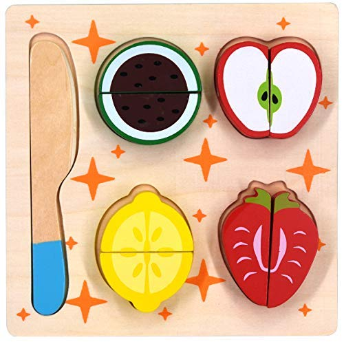 GYBBER&MUMU Cutting Fruits Set Wooden Play Food Kitchen Toys Preschool Educational Toy Introduces Part and Whole Concepts 8 Pieces Set with a Wooden Knife