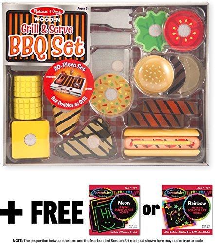 Melissa Doug Grill Serve BBQ Set Wooden Play Food Set 1 Scratch Art Mini-Pad Bundle 09280