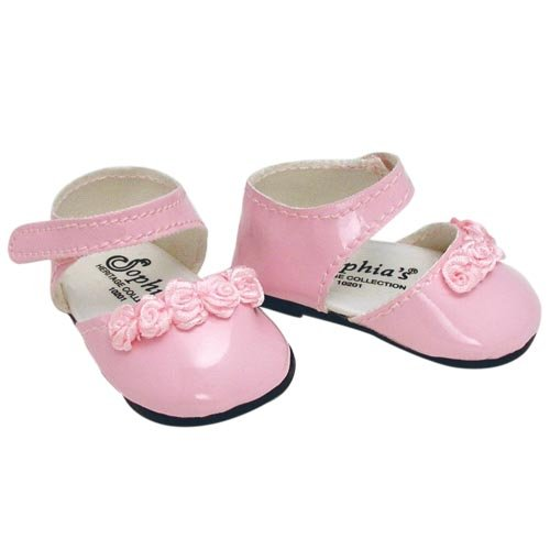 Doll Dress Shoes in Pink fits American Girl Dolls 18 Inch Doll Shoes in Pink Patent Leather with Ankle Straps and Rose Ribbon Detail