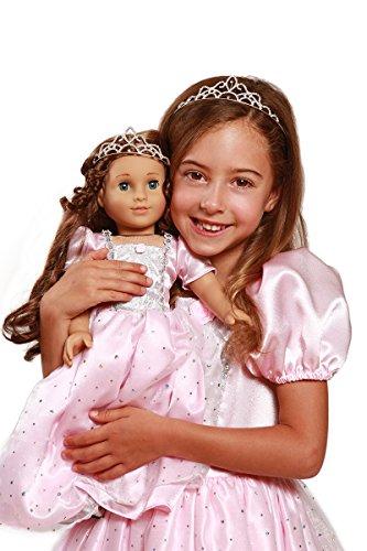 Sparkle Pink Princess Costume Tiara with Matching 18 Inch Doll Dress Doll Tiara Large 5-7 years