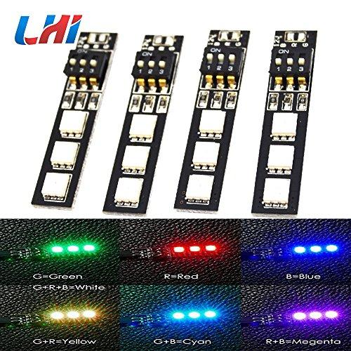 LHI 7 Colors RGB 5050 LED Strip Night Light 12V with DIP Switch 30mm Wire for ZMR250 QAV250 FPV 250 RC FPV Quadcopter 4PCS