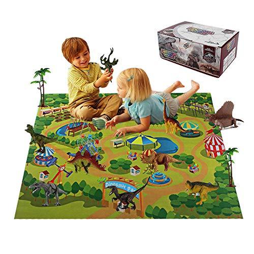 LUCKYTOYS Dino World Activity Play Mat Kids Educational Realistic Dinosaur Playset Including T-Rex Triceratops Velociraptor for Kids Boys Girls