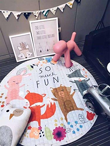 INCX Cotton Kids Rug Baby Play Mat and Toy Organizer Storage 58x58 Inch Foxs