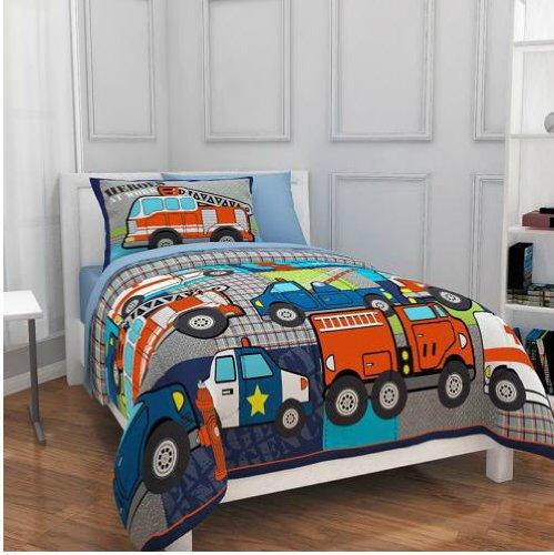 Firetruck Police Heroes Trucks Boy Full Comforter Set 7 Piece Bed In A Bag by Kreative Kids