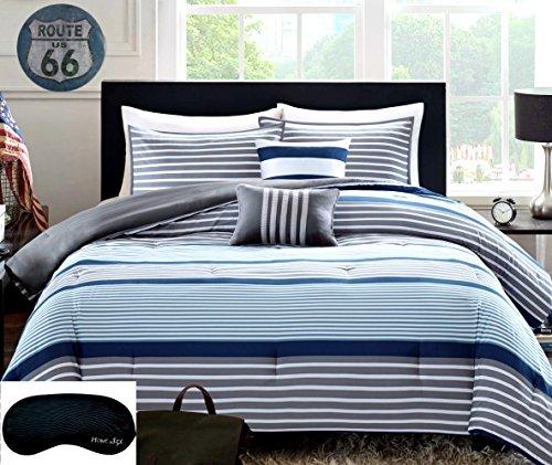 Teen Boys Rugby Stripe Blue Gray White Green FULL QUEEN Comforter  2 Shams 2 Decorative Pillows  Home Style Sleep Mask 6 Pc Bedding Set Navy Boy Kids Comforters Sets FullQueen Blue Gray