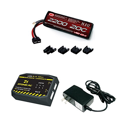 Venom 20C 3S 2200mAh 111 LiPo Battery with Universal Plug and Atomik 2 to 3 Cell ACDC LiPo Balance Charger Money Saving Combo