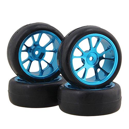 BQLZR Black Rubber Slick Tires Blue Aluminum Alloy 10 Spokes Wheel Rims for 110 RC Racing Flat Car Pack Of 4