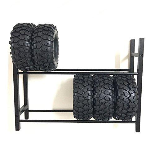 XJJ Black 110 RC Car Tire RackWheel Rack for 110 Wheel Rims Tire RC4WD SCX10 D90 CC01