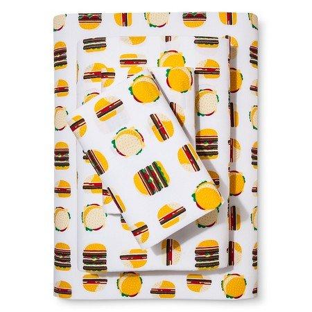 Hamburgers Printed Cotton Sheet Set Queen