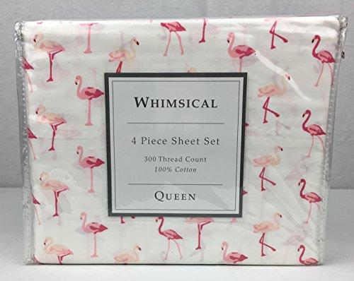 Whimsical 100 Cotton Sheet Set 300TC Pink Flamingos on White QUEEN