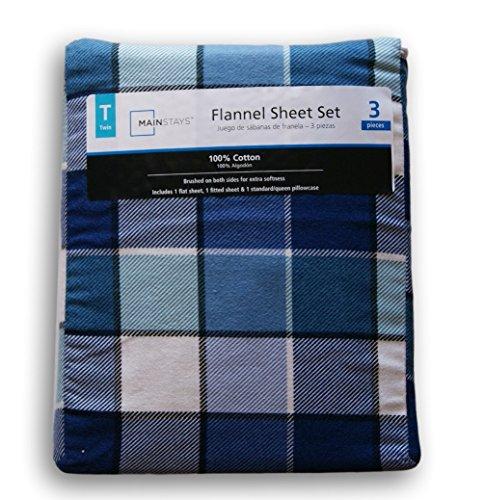 Navy Blue Buffalo Plaid Print Flannel Sheet Set - Twin