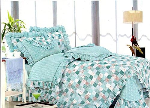 FT Home Fashion Girls Aqua Mint Blue Floral Patchwork Printed 100 Cotton Twin XL Bedding Sheets Set for Dorm School Beds 3 Pieces