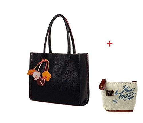 Fullkang Fashion Girls Candy Color Handbags Faux Leather Shoulder Bag Flowers Totes Black