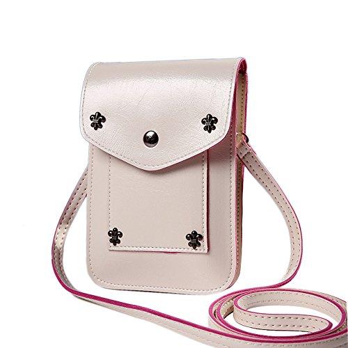 Fullkang Fashion Girls Candy Color Mini Shoulder Messenger Handbag Wallet Beige