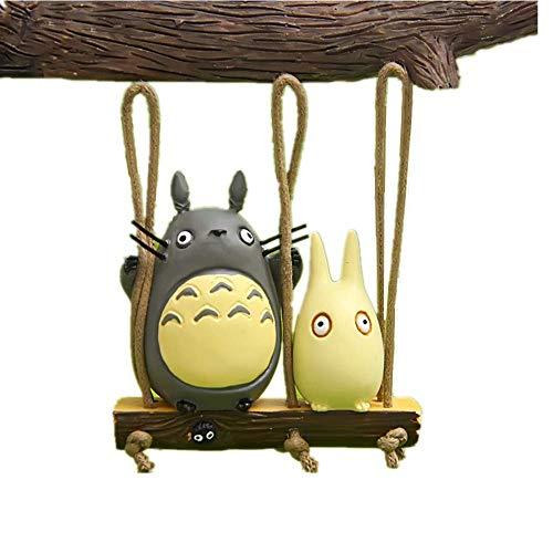 Cute Totoro Swing Figures Figurines Japanese Anime Miyazaki My Neighbor Totoro Statue Models Dolls Toy for DIY Micro Landscape Fairy Garden Decorations Totoro