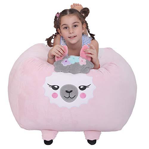 Llama Stuffie Toy Storage Bean Bag Cover Soft Velvet Plush Bean Bag Chiar Replace Mesh Toy Hammock Orgnizer for Kids Room DecorPink Llama
