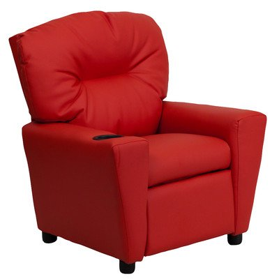 Contemporary Kids Vinyl Recliner- Petite Sized- With The Perfect Color to Match Your Childs Bedroom- Has Soft Seating Comfort Plus a Cup Holder in Armrest- Vinyl Red Color