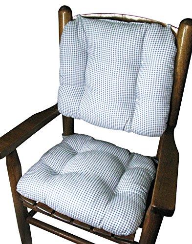 Barnett Child Rocking Chair Cushion Set - Madrid Light Blue Gingham - Latex Foam Fill