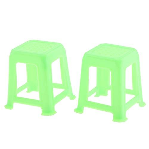 112 Dollhouse Miniature Furniture 2pcs Green Plastic Stool Chair Model