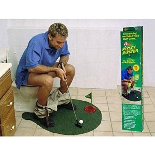 1 Set Potty Putter Toilet Golf Game Mini Golf Mat Ball Set Toilet Golf Minigolf Toys
