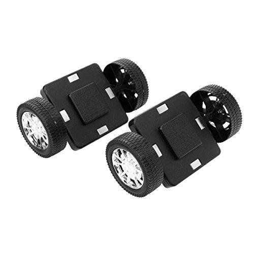 ROSENICE 2pcs Magnetic Wheels for Magnetic Building Blocks Construction Toys Black