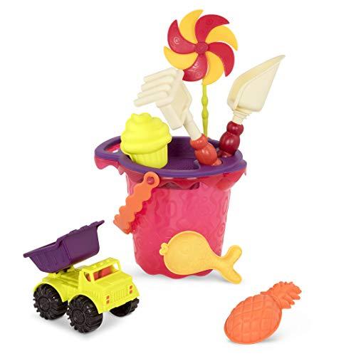 B Toys - Sands Ahoy - Beach Playset - Medium Bucket Set Mango with 9 Unique Sand Water Toys -Phthalate Free - 18 m