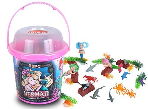Wild Republic Mermaid Figurines Toy Bucket Mermaid Doll Aquatic Animals Gifts for Girls Bath Toys 33-Pieces