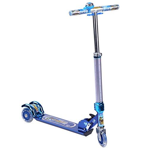 XLM Childrens Light Up Three-wheel Folding Kick Scooter Xlm-6061 Blue