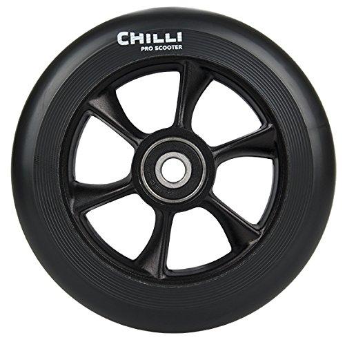 Chilli Pro Scooter Wheels 110mm Urethane - Turbo Pro Scooter Replacement Wheels - Black Pro Scooters Wheels ABEC 9 Bearings wAluminum Hubs - Freestyle Stunt Scooter Wheel - 1 Single Wheel