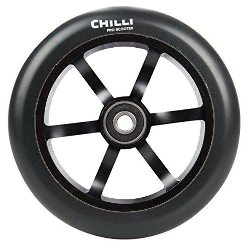 Chilli Pro Scooter Wheels 120mm Urethane - 6 Spoke Pro Scooter Replacement Wheels - Black Pro Scooters Wheels ABEC 9 Bearings w Aluminum Hubs - Freestyle Stunt Scooter Wheel - 1 Single Wheel