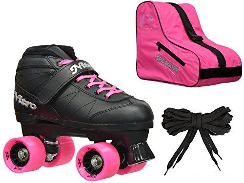 New 2016 Epic Super Nitro Pink Indoor  Outdoor Quad Roller Speed Skate 3 Pc Bundle Mens 8