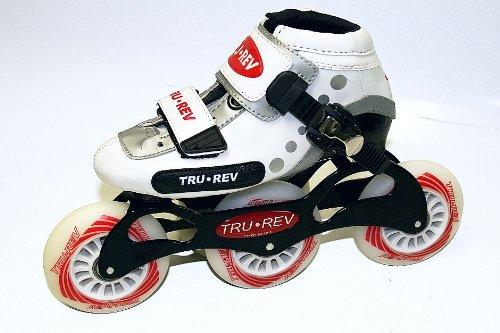 Trurev Youth 3 Wheel Inline Skates- 3-84 Size Youth 1 White