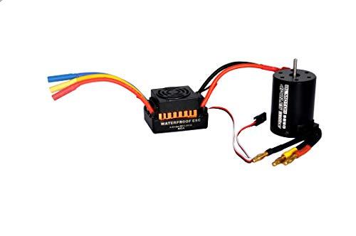Shaluoman Waterproof 60A Sensorless Brushless Car Electronic Speed Control ESC  3650 3900KV Brushless Sensorless Motor for 110 RC Car Truck 60A ESC Gold   3650 3900KV Motor