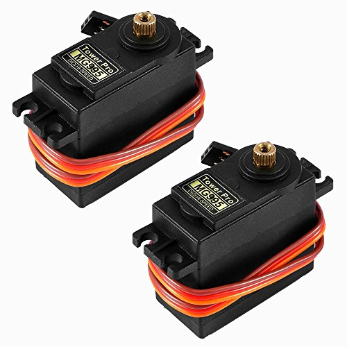 KOOKYE 2PCS MG995 Metal Gear 13kg55g High Speed Torque Digital Servo Motor with servo horn Set Arm  X  wheel Star for RC Car Helicopter
