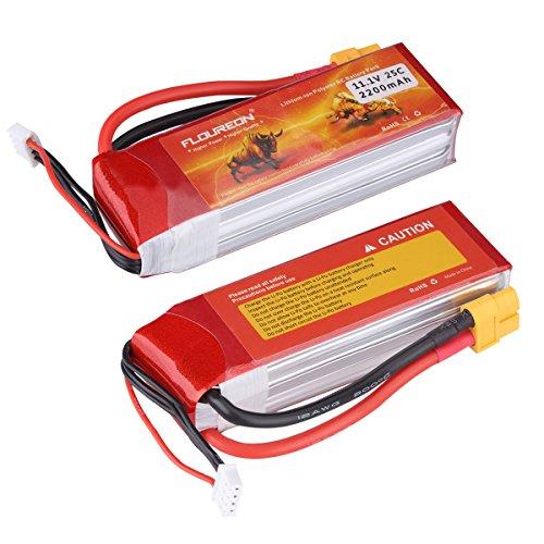 Floureon 2 Packs 3S 111V 2200mAh 25C RC Rechargeable Lipo Battery XT60 Plug for DJI Phantom FC40 Spare Walkera E22RC Quadcopter Drone and FPV 417x138x091 Inch