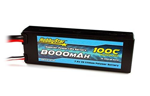 HobbyStar 8000mAh 74V 2S 100C Hardcase LiPo Battery - Traxxas Connector