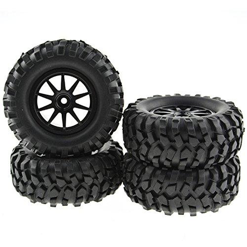 Buggy Rubber Tires 10 Spoke Black Wheel Rim for RC HSP 110 Off-Road Pack of 4