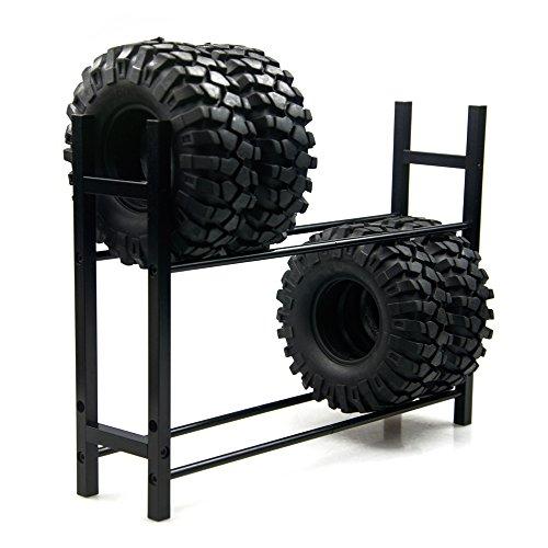 Jack-Store Aluminum RC Tire Rack for 110 Tire Wheel Rims RC Rock Crawler RC4WD SCX10 D90 CC01 F350 Black