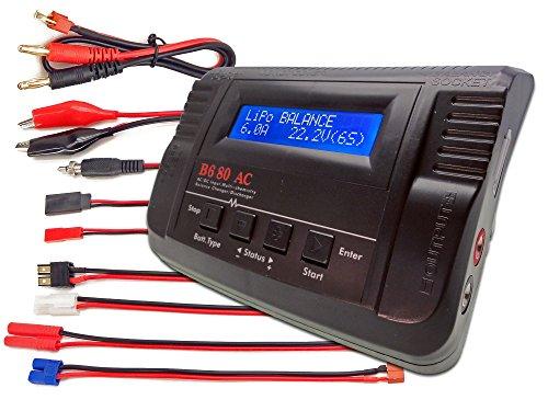 B680AC CAR Dual Power 6Amps 80Watts LiPo LiIon LiFe NiCd NiMh ACDC Balancing Battery Charger w Deans T-Plug Traxxas High Current TamiyaKyoshoMolex HXT40mm Bullet Redcat EC3EC-3 Plugs