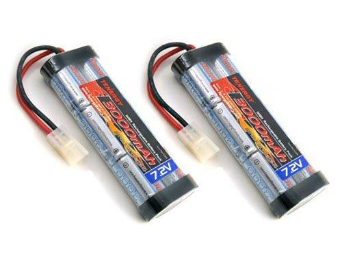 2 pcs 72V 3000mAh Flat NiMH High Power Battery Packs with Tamiya Connectors for RC Cars