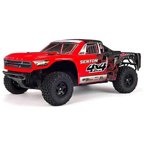 ARRMA 110 SENTON MEGA 4X4 RC Stadium Truck 4WD RTR with 24GHz Spektrum Radio 7C 2400mAh NiMH Battery and Charger RedBlack ARA102715T1