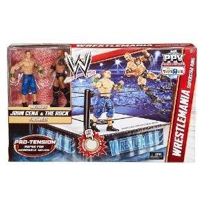 Mattel Mattel WWE wrestling Wrestling PPV Headquarters Exclusive Wrestlemania Superstar Ring John Cena The Rock action figure s Parallel import