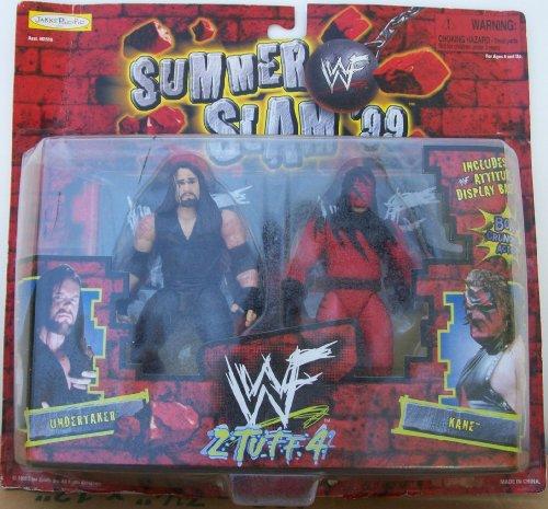 Jakks - WWF - 1999 - Summer Slam 99 - 2 Tuff 4 Set - Undertaker Vs Kane Action Figures - Includes Attitude Display Base - Bone Crunching Action - New - Limited Edition - Collectible