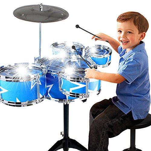 CreationToy Drum Set for Children 11 Piece Kids Musical Instrument Drum Playset w 6 Drums Cymbal Chair Kick Pedal Drumsticks Blue