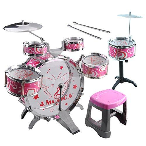 Kids Toy Drum Kit - SODIALR1 Set Kids Drum Kit Musical Band Playset Chair Cymbal Children Kids Toy Gift Pink