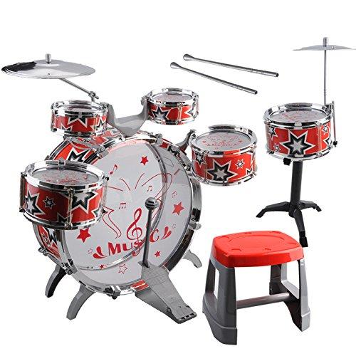 Kids Toy Drum Kit - SODIALR1 Set Kids Drum Kit Musical Band Playset Chair Cymbal Children Kids Toy Gift Red