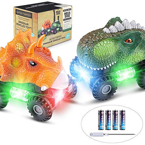Dinosaur Cars 2 Pack Dinosaur Vehicles Set Pull Back Cars with LED Light Sound Dinosaur Toys for Boys Toddlers Girls Kids Gifts
